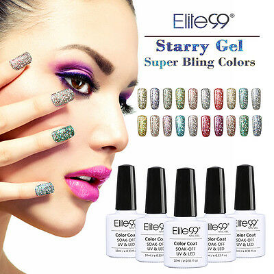 Elite99 Esmaltes Semipermanente de Uñas Soak Off UV LED Brillante Manicura 10ml
