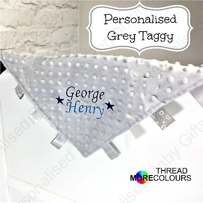 Personalised Baby Taggy Taggie Blanket Comforter Boy Girl Gift Tag Soft Grey