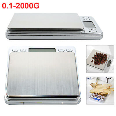 0.1-2000G Precision Digital LCD Scale Gold Silver Coin kitchen Jewellery uk