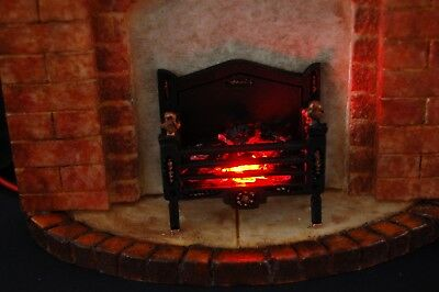 Dollhouse fireplace 1/12th Scale Brick Effect Surround Sandstone Hearth Effect