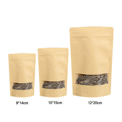 10 X Stand Up Kraft Paper Bag Ziplock Resealable Food Pouch With Clear Window UK