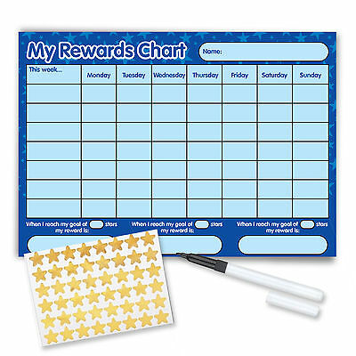 Re-usable Reward Chart (including FREE Stickers and Pen) - Blue Stars Design