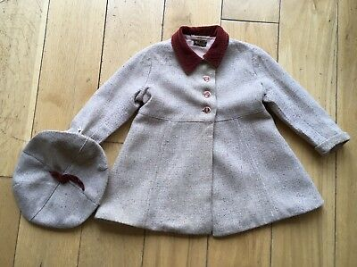 1940'S Original Vintage Small Childs Rich Beige Oatmeal Coat And Matching Beret