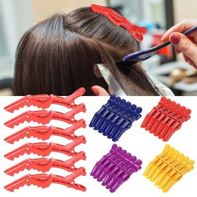 6Pcs Hairdressing Salon Sectioning Clamp Crocodile Hair Clip Hairpin Grip Set