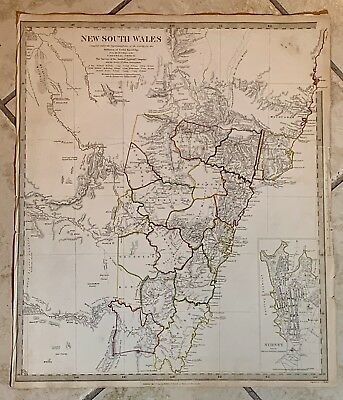 Antique Map Of New South Whales With Sydney Inset- 1833- SDUK