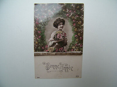 Ancienne Carte Postale Fantaisie Bonne Annee Old Postcard New Year #029