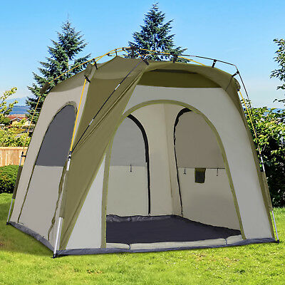 Outsunny Five Man Pop Up Tent Automatic Camping Backpacking Dome Shelter