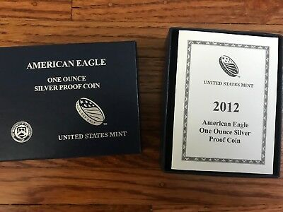 2012-W 1 oz Proof Silver American Eagle Coin - with Box and COA