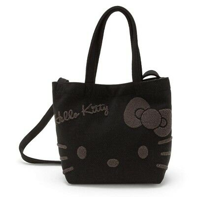 1fe1a1340d Hello Kitty 2 way Tote Bag Kitty s Face Black SANRIO Handbag Shoulder bag  Japan