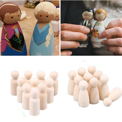 2/5/10x Wooden People Peg Dolls Wedding Cake Toppers DIY Toy Gift Boy Girl Blank