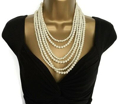 Beautiful Long Layered Faux Pearl Rope Necklace Vintage Design Flapper 20's