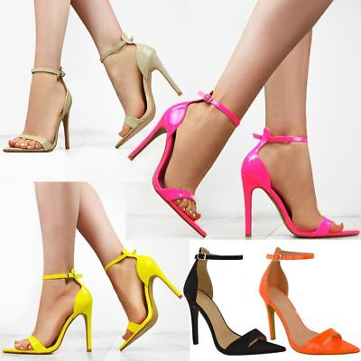 8c03eebc3a405 Womens Ladies Bright Neon Pink Yellow High Heel Party Sandals Barely There  New