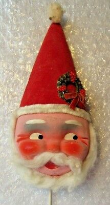 Large Vintage Paper Mache Composition Santa Face Cotton Beard Pick Christmas 12""