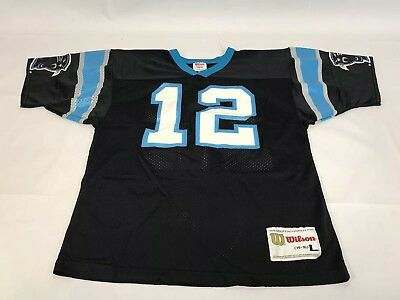 Vintage Kerry Collins  12 Carolina Panthers Wilson Jersey Size Youth L 14-16 f94f7c8af
