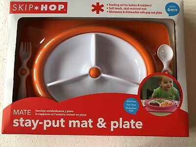 Skip Hop Stay-Put Mat & Plate Set - Orange or Hot Pink baby tableware