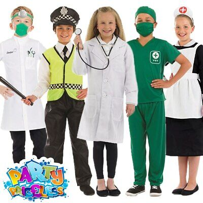 Kids Vet Doctors Dentist Policeman Nurse Costume Girls Boys Uniform Fancy Dress