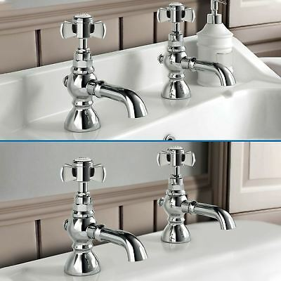 Celone Bathroom Cross Traditional Bath Basin Taps Chrome Set Pair Hot & Cold