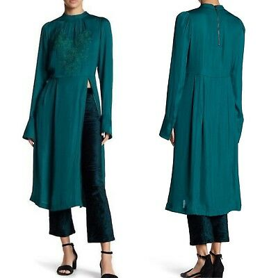 37926723ff3c NWT Free People Emerald Mock Neck Embroidered Long Sleeve Dress SIZE SMALL  Orig