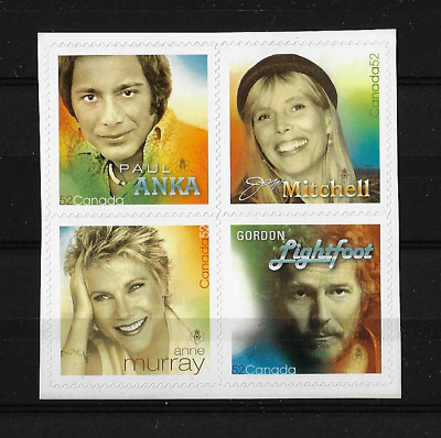 Canada Stamps — Pane of 4 — 2007, Recording Artists #2222 — MNH