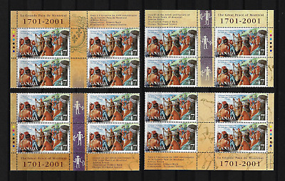 Canada — Set of 4 inscription Blocks — The Great Peace of Montreal #1915 MNH