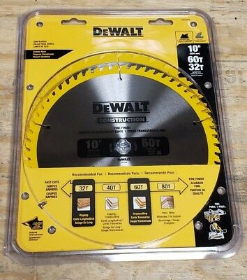 "Dewalt DW3106P5 10"" Carbide Miter Saw Blade 32T & 60T (2-Pack)"