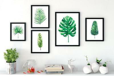 Set of 5 Botanical Green Leaf Wall Prints in Watercolour Style Living / Dining