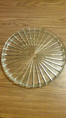 Vintage Thick Heavy Clear Round Glass Serving Platter Tray Ribbed Design