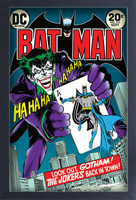 BATMAN JOKER'S BACK IN TOWN 13x19 FRAMED GELCOAT DC COMICS BRUCE WAYNE GOTHAM!!!
