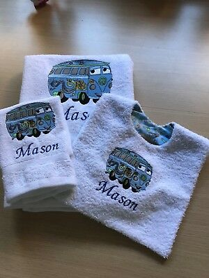 Personalised Embroidered Bath Towel, Washer & Bib