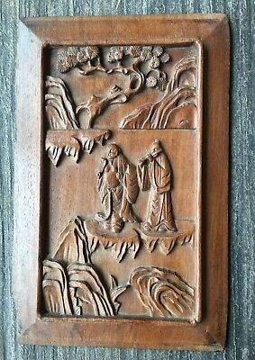 Antique Chinese Huang Huali Wood Carved Panel
