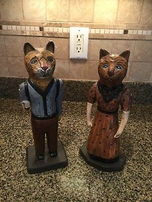 """Vtg Wooden Carved Hand Painted Cat """"""""Man & Woman"""" With Moving Arms Figures"""