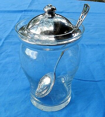 Vtg. WEBSTER STERLING SILVER LID ETCHED GLASS MUSTARD JAM CONDIMENT JAR & SPOON
