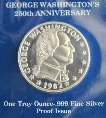 1982 Washington USAC 250th Commemorative 1 Oz PF 999 Silver Round W-FDC and COA