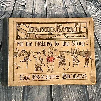 Antique StampKraft First Edition Hardcover Childrens Story Book 1916,49 Stickers