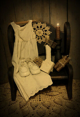 Primitive Gathering Bench~Baby Dress~Baby Shoes~Soap~Powder~Candle Stick~Candles