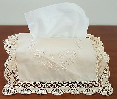 Shabby Chic CREAM FLORAL Embroidered CROCHET LACE Edge TISSUE BOX COVER