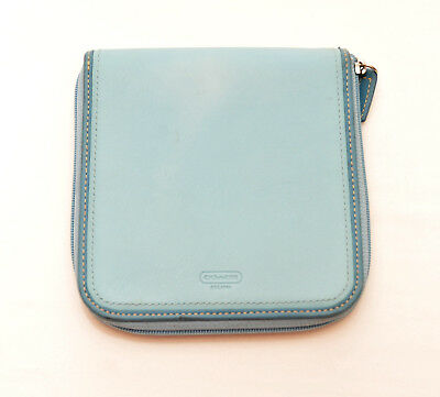 Coach~Light Blue Leather  Zip Around 12 Cd Holder Case