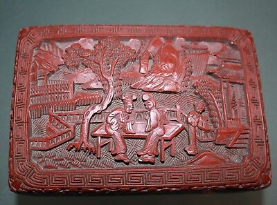 A handmade  19th century Deep Carved Chinese  cinnabar lacquer box  148