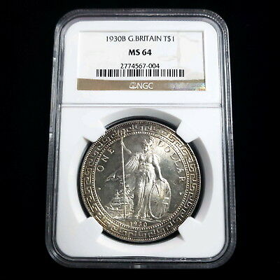 1930 B Great Britain $1 Trade Dollar .900 Silver NGC MS64 Collector Coin AK7004