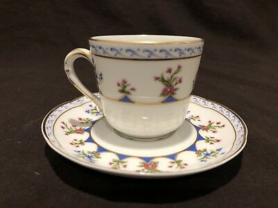 Chateaubriand Blue Bernardaud Limoges Cup and Saucer Floral Gold