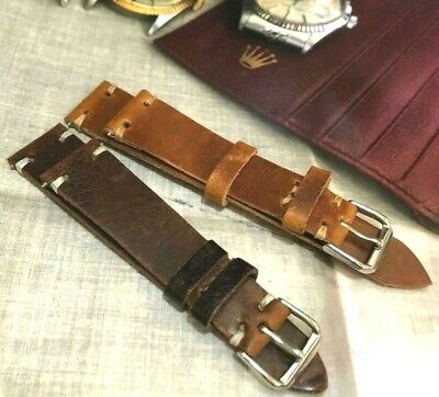 Vintage Italian Genuine Calf Leather Watch Strap 18 19 20 22mm H/M Amber Brown