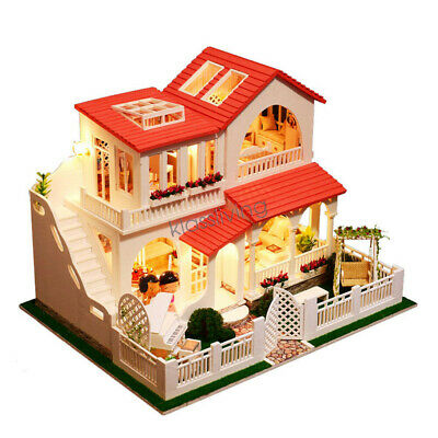 3D DIY Miniature Wooden Doll House with Music Box Dust Cover LED Lights Gift Set