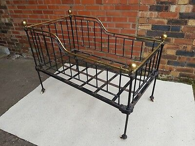 Antique Iron / Brass Bed / Cot / Child's bed.