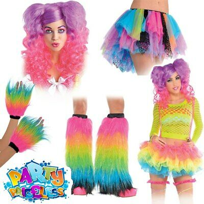 Ladies 80s Fancy Dress Costume Accessories Adults Rainbow Neon Rave Party Tutu