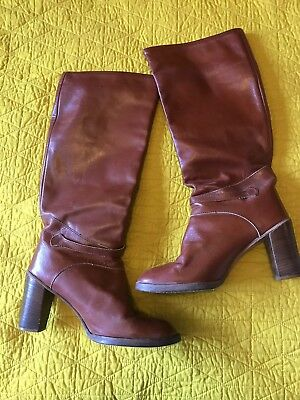 145fac3f3fd53 WOMANS VINTAGE ZODIAC 70's RUSTY BROWN LEATHER WESTERN BOOTS KNEE HIGH  HEELED 10
