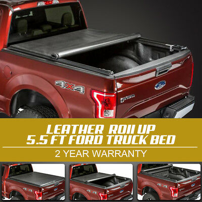 Fit 2014 2015 2016 2017 2018 Ford F150 5.5' Roll Up Leather Soft Tonneau Cover