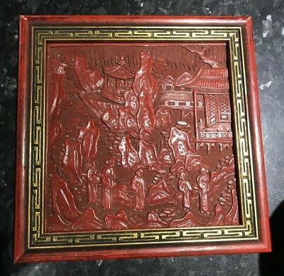 Antique Chinese / Asian /Oriental Carved Cinnabar Red Lacquer Plaque