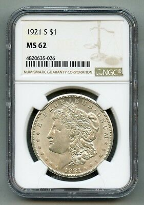 1921 S Morgan Silver Dollar NGC MS 62