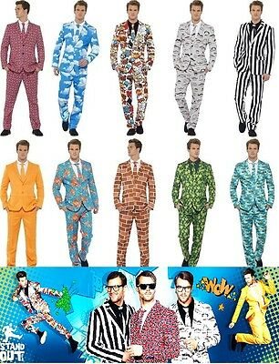 Men's Stand Out Suit & Glasses Fancy Dress Costume Crazy Smart Stag Night Fun