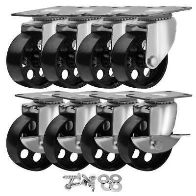 "8 Pack 3"" All Steel Metal Caster Wheels HD w/ Screws (4 no brake & 4 w/ brake)"